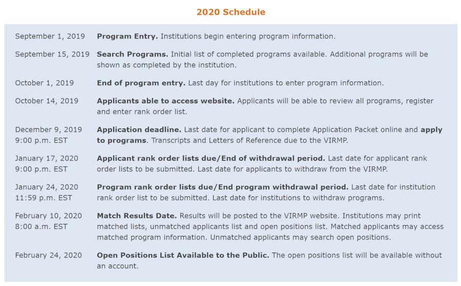 VIRMP 2020 schedule